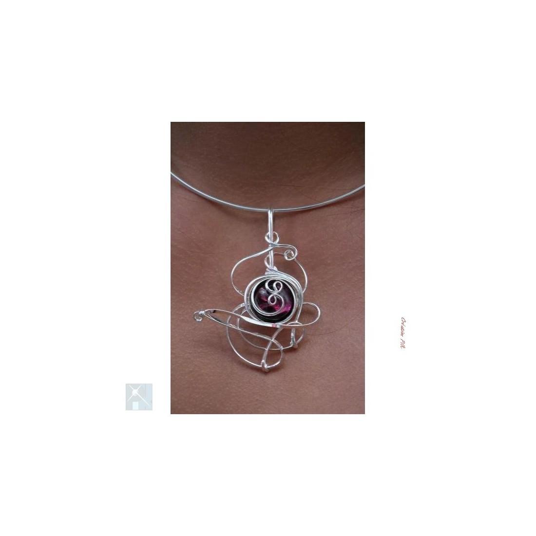 Collier violet améthyste, bijou fantaisie made in France