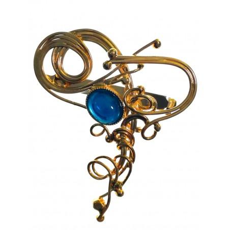 Artisanat d'art-broche unique, or et bleu