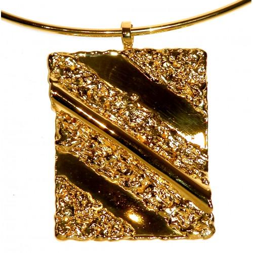 Collier doré, rectangle ondulé- création unique