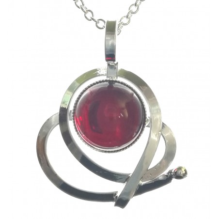 Pendentif artisanal argent avec pierre rouge