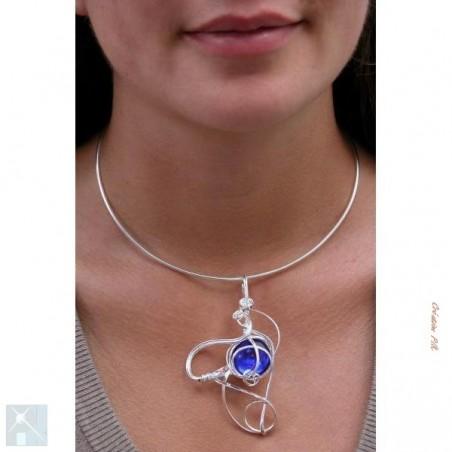 Collier de créateur bleu saphir et argent-bijou création PIK