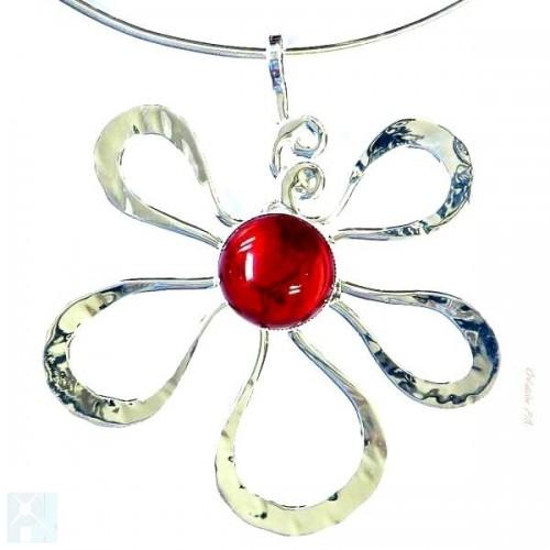 Collier fleur argent rouge rubis, bijou contemporain pour femme