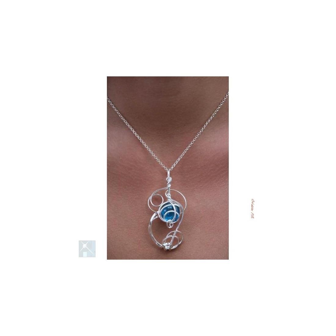 Pendentif-bijou argent et aïgue-marine