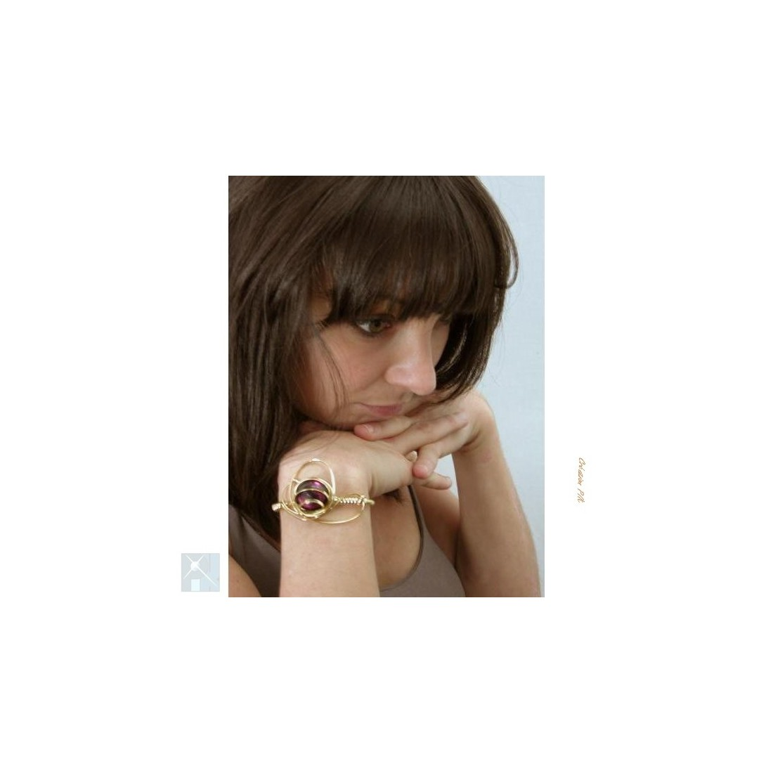 Bracelet réglable de couleur violet améthyste