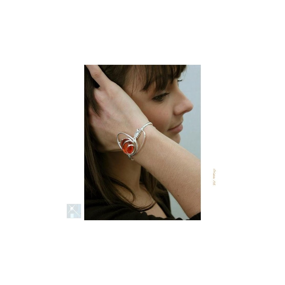 Bracelet argent et orange ajustable