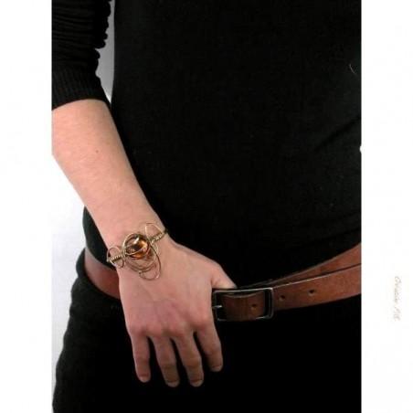 Bracelet doré de créateur. Bijou or et  jaune topaze.
