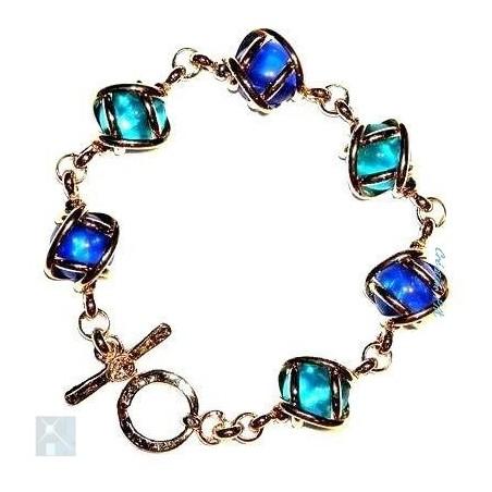 Bracelet souple doré, six pierres, création artisanale