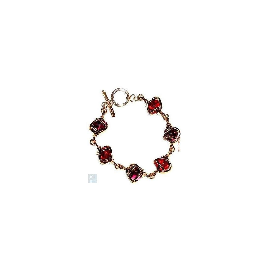 Bracelet souple violet et vieux rose. Bijou pour femme.