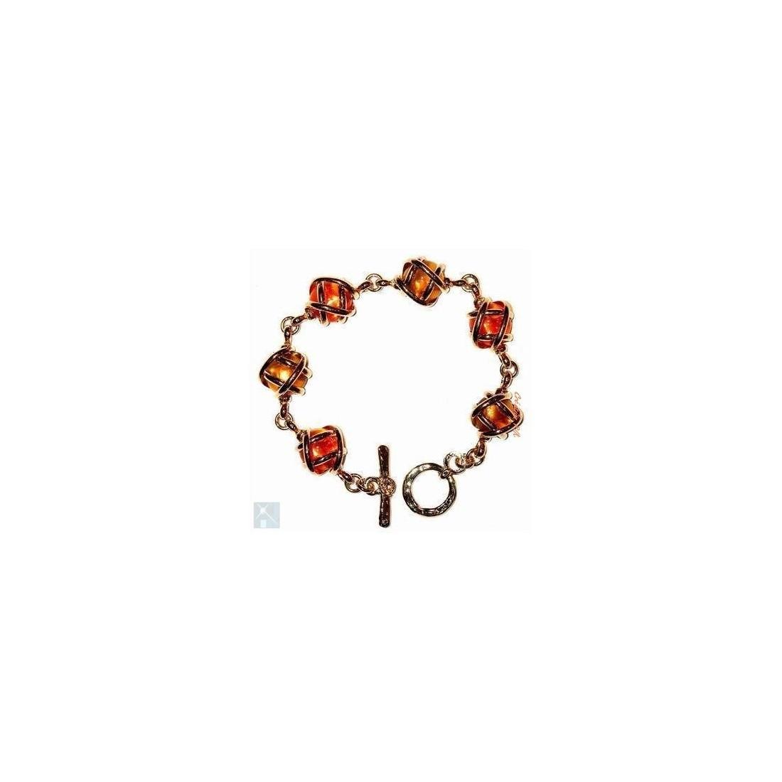 Bracelet souple orange et jaune topaze. Bijou issu d'artisanat d'art français.