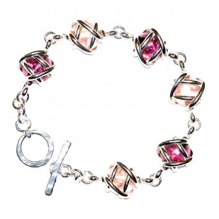 Bracelet fantaisie argent, couleur rose pale et violet améthyste.