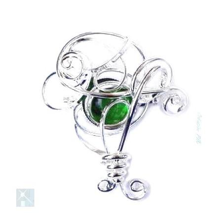 Broche argent arrondie-vert péridot