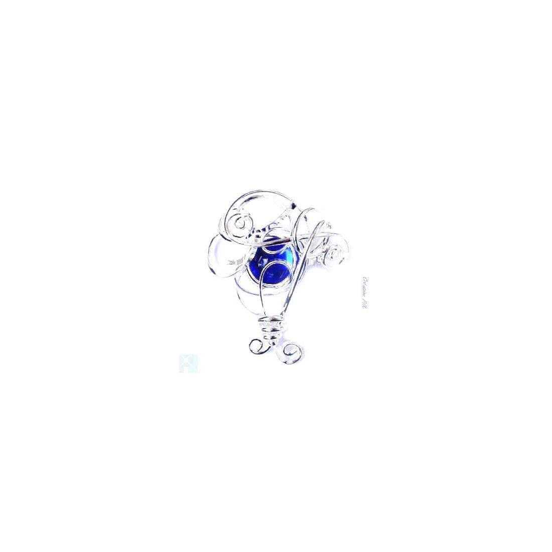 Broche argent arrondie-bleue claire