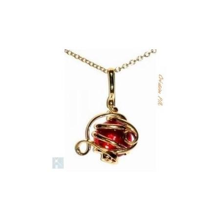Petit pendentif déco rouge rubis.