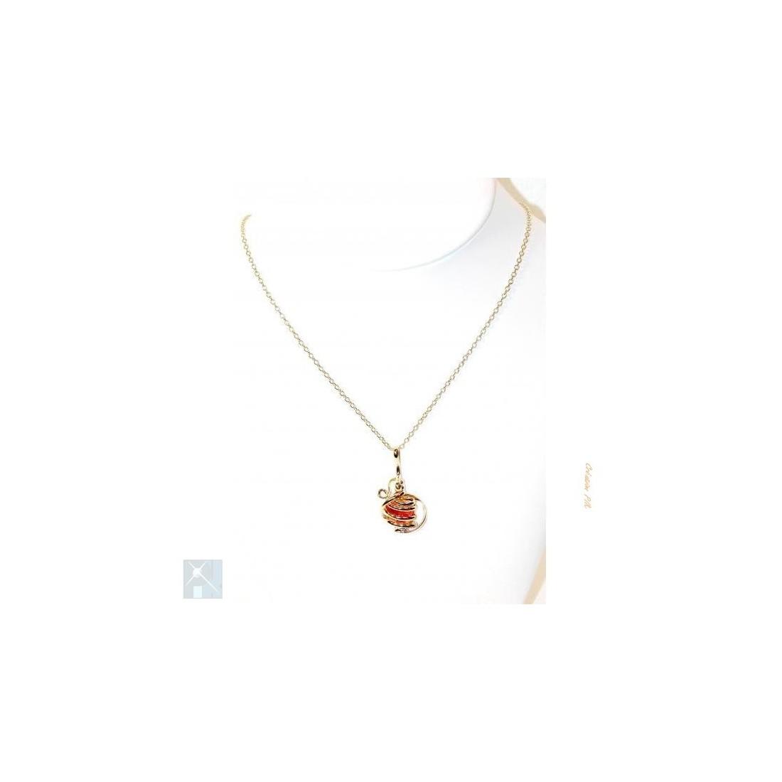 Petit pendentif doré-orange, bijou original, fait main.