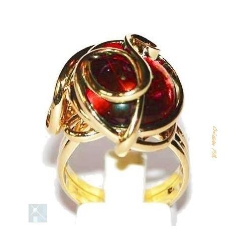 Bague dorée rouge rubis-création artisanale.