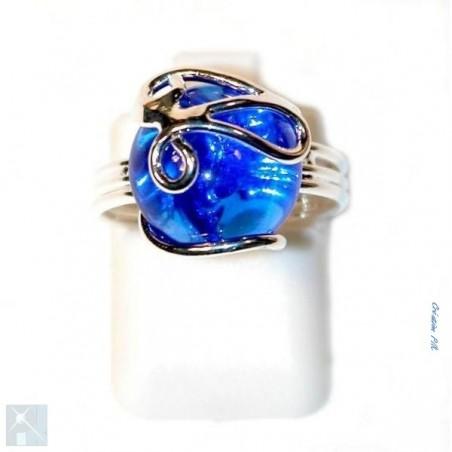 97a0182edcf65 Bague de créateur, plaqué argent, strass bleu. Jolie bague fantaisie ...