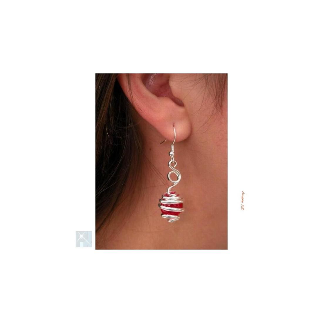 Boucles d'oreilles, création artisanale argent.
