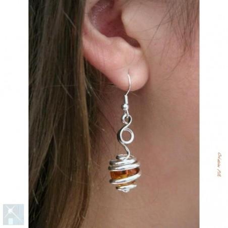 Boucles d'oreilles, création artisanale argent et topaze.