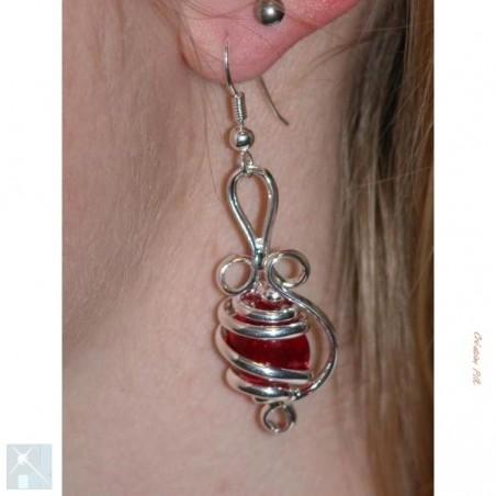 Bijou de créateur-boucles d'oreilles argent, rouge.