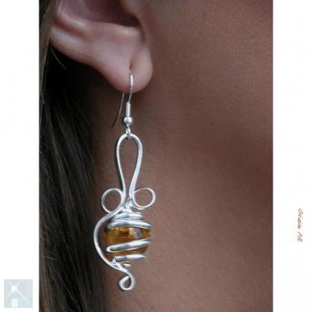 Bijou de créateur-boucles d'oreilles argent.