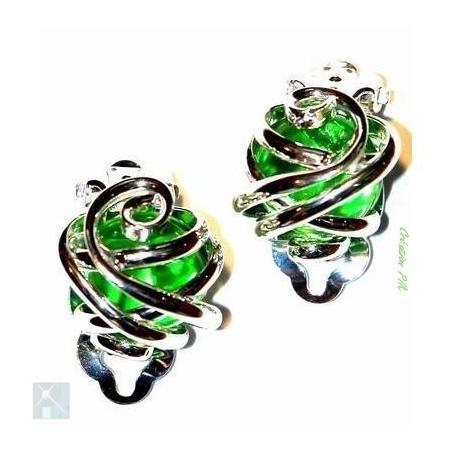 Boucles d'oreilles clips-verte.