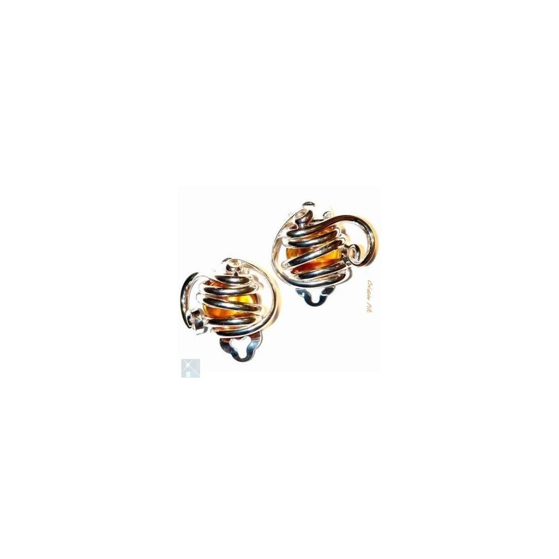 Boucles d'oreilles à clips, classiques, topaze.