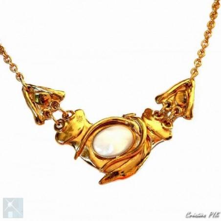 Collier en trois éléments plaqué or avec une pierre véritable