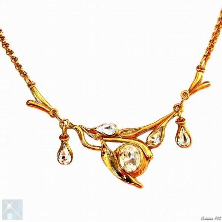 Collier cinq éléments de créateur, plaqué or
